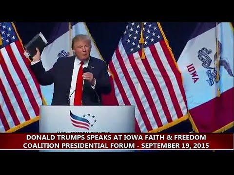 Full Speech HD: Donald Trump Speaks at Iowa Faith & Freedom Forum (9-19-15) - YouTube - Trump spoke about Christian persecution and protecting religious liberty.