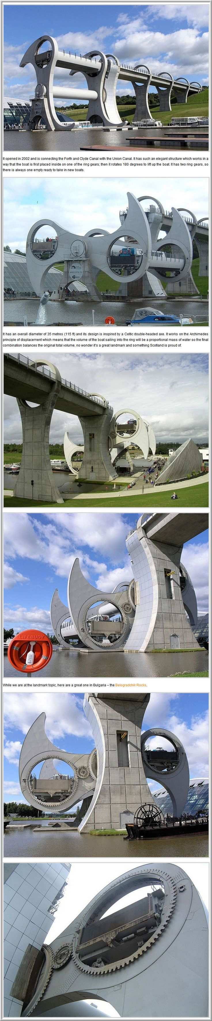 The Amazing Falkirk Wheel Of Scotland -   How is it possible to transport a huge boat from one water level to another much higher one? Scotland has the answer; a gigantic wheel that lifts boats. We are talking about the famous Falkirk Wheel that is an engineering landmark for Scotland