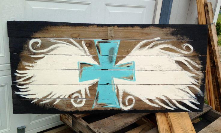 Angel wings with cross - on reclaimed pallet wood. Hand painted  https://www.etsy.com/shop/toofarmhousefabulous