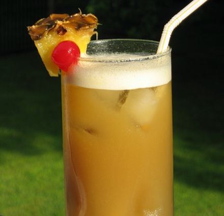 "Captain Jack Sparrow ~ 1 oz. Spiced Rum, 1 oz. Southern Comfort, 1 oz. Captain Morgan's ""Black"" Rum or .5 oz Bacardi 151, 5 oz. Pineapple Juice, Pineapple Wedge and/or Cherry for garnish"