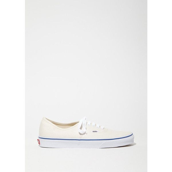 Vans Authentic Lace-Up Sneakers ($50) ❤ liked on Polyvore featuring shoes, sneakers, off white, off white shoes, eyelets shoes, plimsoll shoes, off white sneakers and canvas sneakers shoes