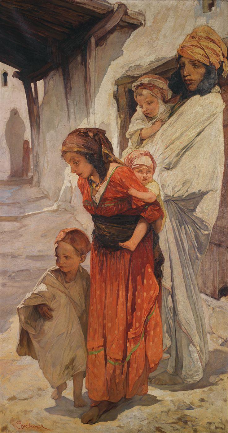 Jules Van Biesbroeck (Belgian, 1873-1965). Mother and children in the Casbah
