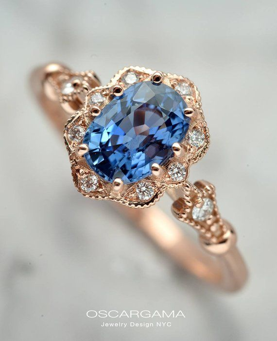 Oval Natural Corn Blue Sapphire Engagement ring 7×5 in 14kt