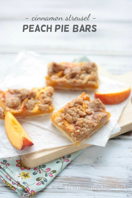Cinnamon Streusel Peach Pie Bars | recipe on www.crumbsandchaos.net #WalmartProduce #client