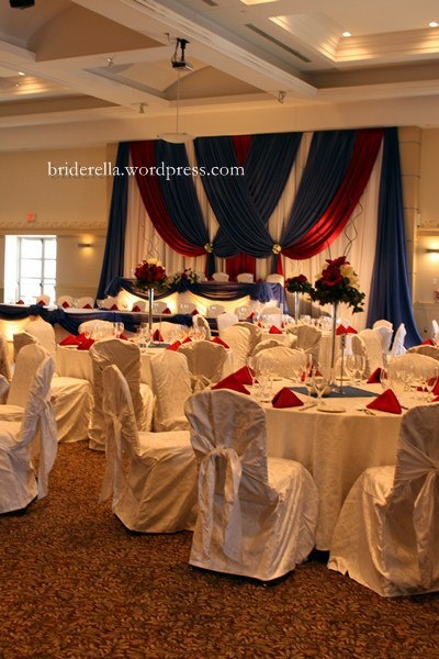 red white blue wedding reception