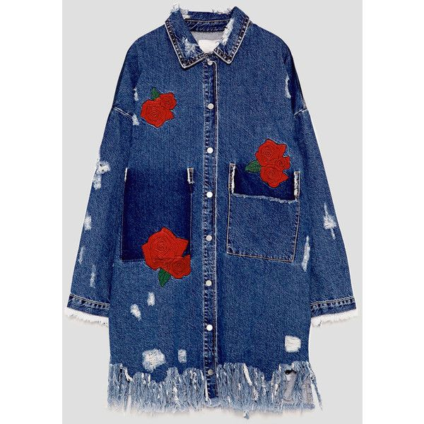 EMBROIDERED DENIM DUSTER JACKET - JACKETS-WOMAN | ZARA United States ($90) ❤ liked on Polyvore featuring outerwear, jackets, embroidery jackets, denim duster jacket, denim jacket, blue denim jacket and blue jackets
