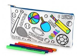 Funbox Activities Colour In Sporty Pencil Case. Sports! Sports! Sports! A boys best friend apparently! #funboxactivities  #sports  #amazing #boys #cricket #football #tennis   @funboxactivities #kids #colouringin #kidsactivities #pencilcase
