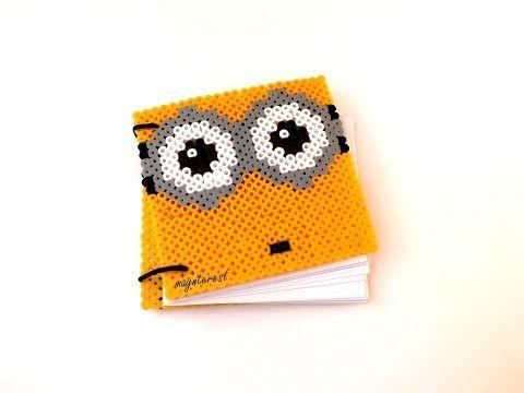Libreta Minion de hama beads   Minion notebook perler bead - YouTube