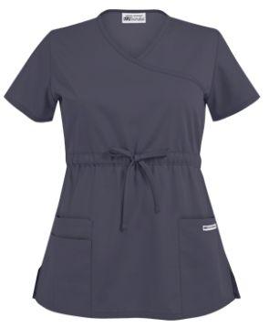 UA Best Buy Scrubs Empire Waist Mock Wrap Top   Our new solid waist mock wrap scrub top has stylish binding and an empire waist that features an adjustable drawstring for added comfort. Style # 968 #uniformadvantage #uascrubs #adayinscrubs #fashionscrubs #mockwraptop #gray #scrubs