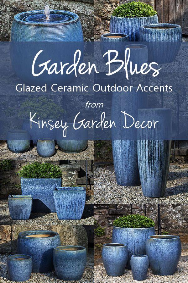 Kinsey Garden Decor Blue Pearl Indoor Outdoor Large Ceramic