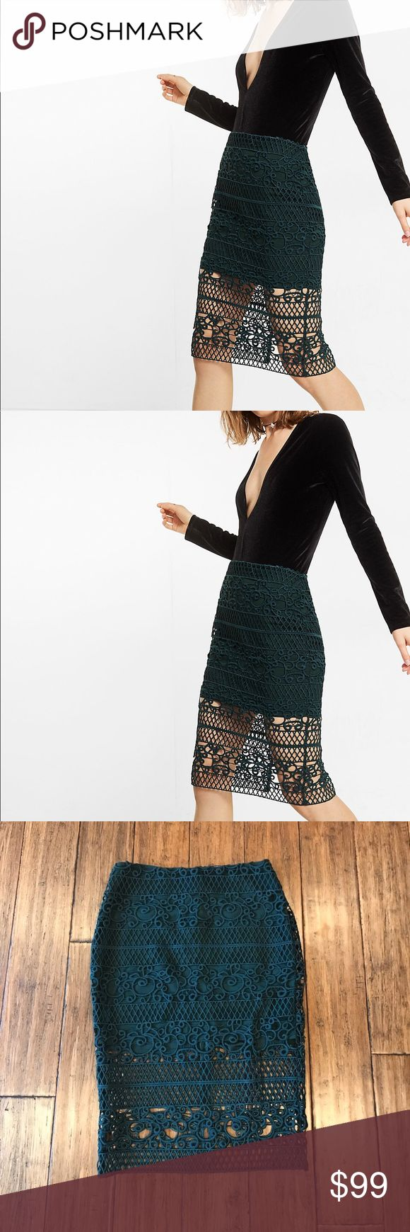 """Crocheted Pencil Skirt -Size 6 SOLD OUT ONLINE! This trellis-like crocheted lace lays over a shorter lining for an ultra-feminine take on the high waisted pencil skirt. Its slimming shape pairs beautifully with a long-sleeve body suit. Approx. 25.5"""" long, 14"""" across waist, and 18"""" across hips. Shell 100% polyester, lining 96% polyester, 4% spandex. Back slit approx. 8"""" deep.  * Pencil skirt * Hidden back zipper * Soft, thick crocheted lace; Lined to mini length * Straight hem with back slit…"""