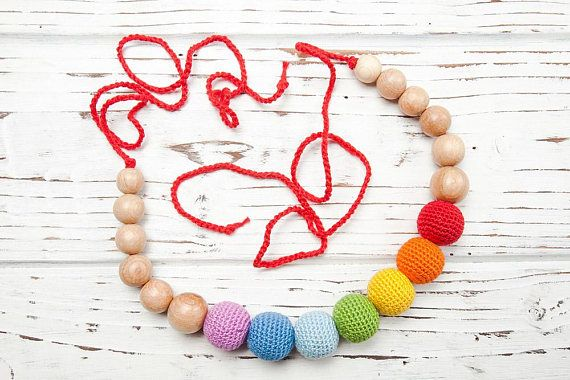 Juniper Rainbow Nursing Necklace  Modern Trendy Natural