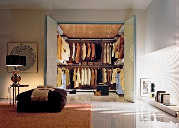small walk-in closet wih stretch ceiling design