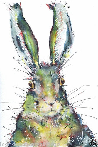 Rabbit original watercolour painting by ingrid wheel for How to paint a portrait in watercolor