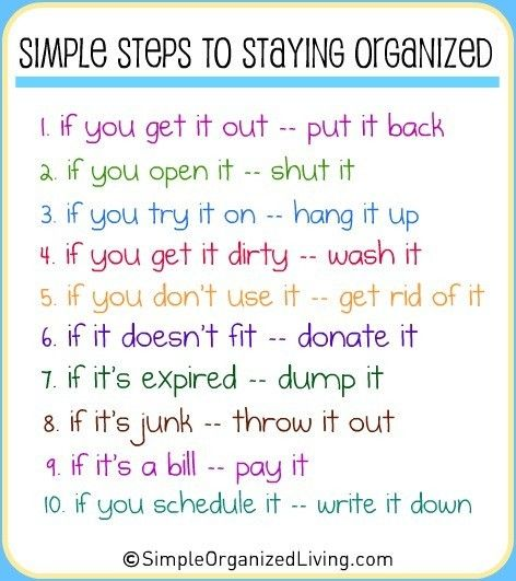 simple steps to staying organized.  I should post this in the kitchen for my roommates to see so I won't have to clean up after them!