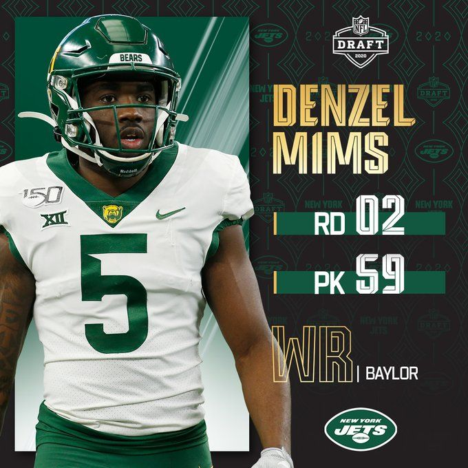 With The No 59 Overall Pick The Nyjets Select Bufootball Wr Denzel Mims In 2020 Nfl Iowa State Cyclones Football Jets Football