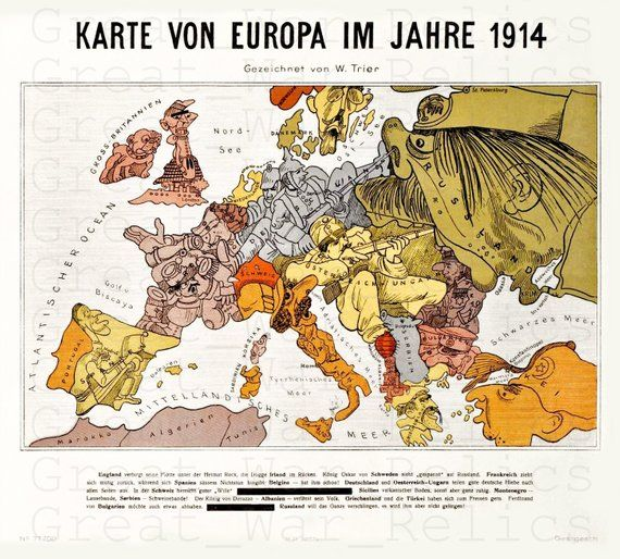 Ww1 German Map Of The World Caricature Poster Wwi Military Wall