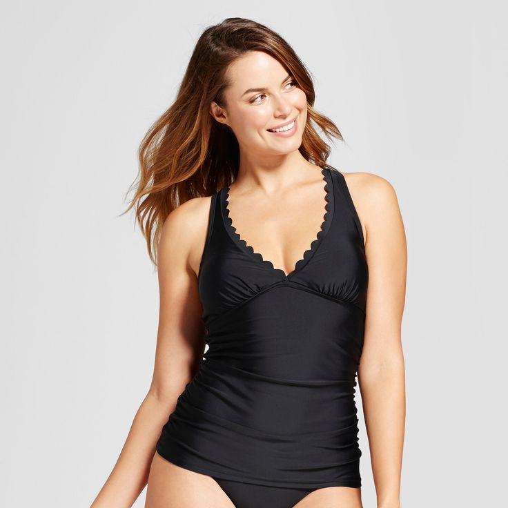 Women's Scallop Tankini Top - Merona Black XS