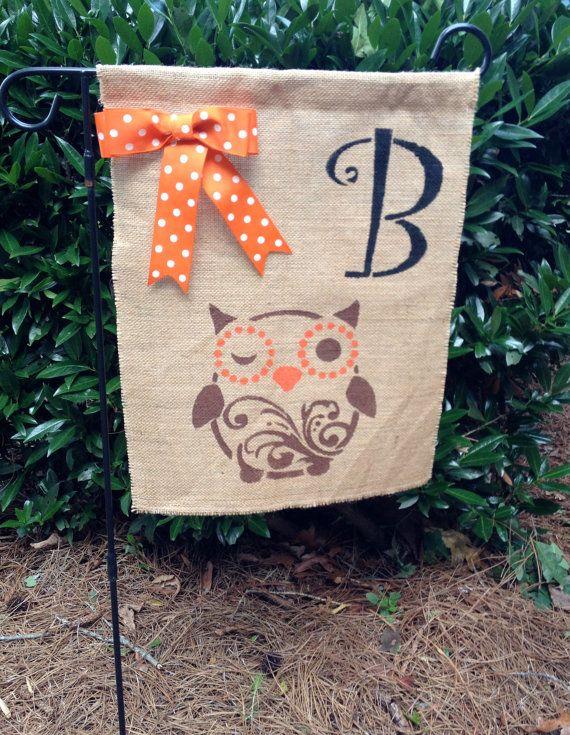 Burlap Garden Flag with Monogram and Owl by PaulasHomeDecor