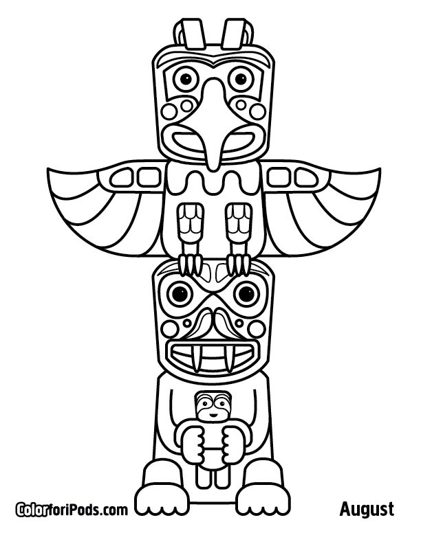 native totem pole coloring pages