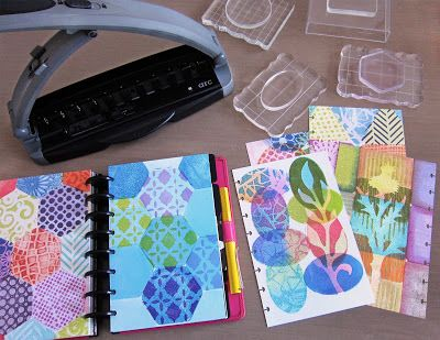 """Mini Gelli® Stamping with Ink Pads! There are so many ways to use your colorful stamped papers! I cut the paper in half before printing (5.5""""x8.5"""")—then punched each page with my ARC punch. Now the prints are ready to pop into my disk-bound planner/journal to be worked on further."""