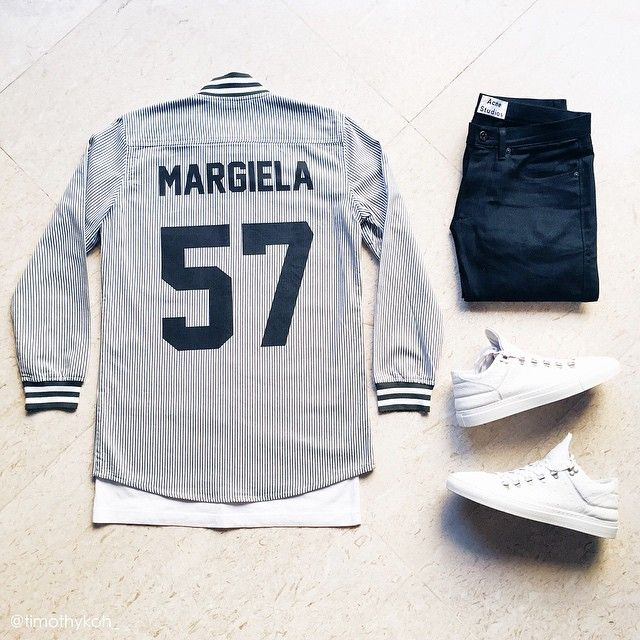 """Maison. Over shirt: @lesartists Maison Margiela baseball tee Tee: @stampdla L.A. pocket tee Denim: @acnestudios Max New Cash Sneakers: @fillingpieces x…"""