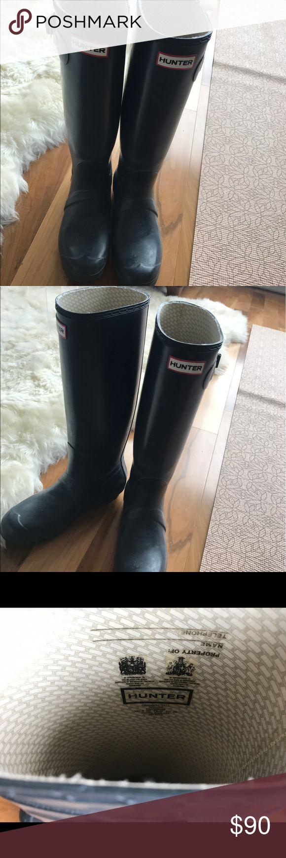 Hunter Rain Boots Smoke blue Hunter rain boots to the knee, super comfortable and waterproof Hunter Boots Shoes Winter & Rain Boots
