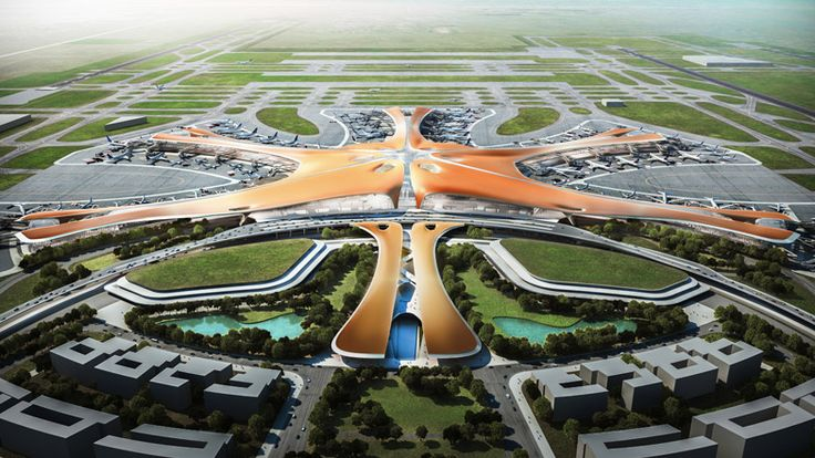 """Zaha Hadid unveils designs for """"world's largest airport passenger terminal"""" in Beijing."""