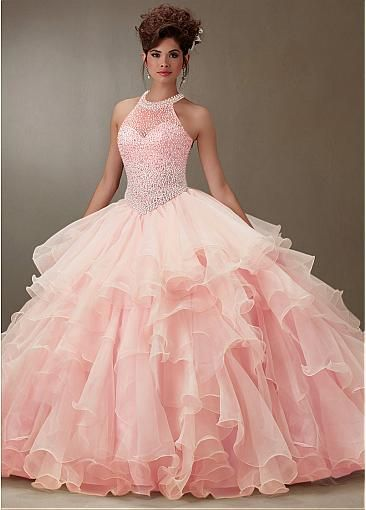 Charming Tulle & Organza Jewel  Neckline Ball Gown Quinceanera Dresses With Beadings & Rhinestones #selectprom