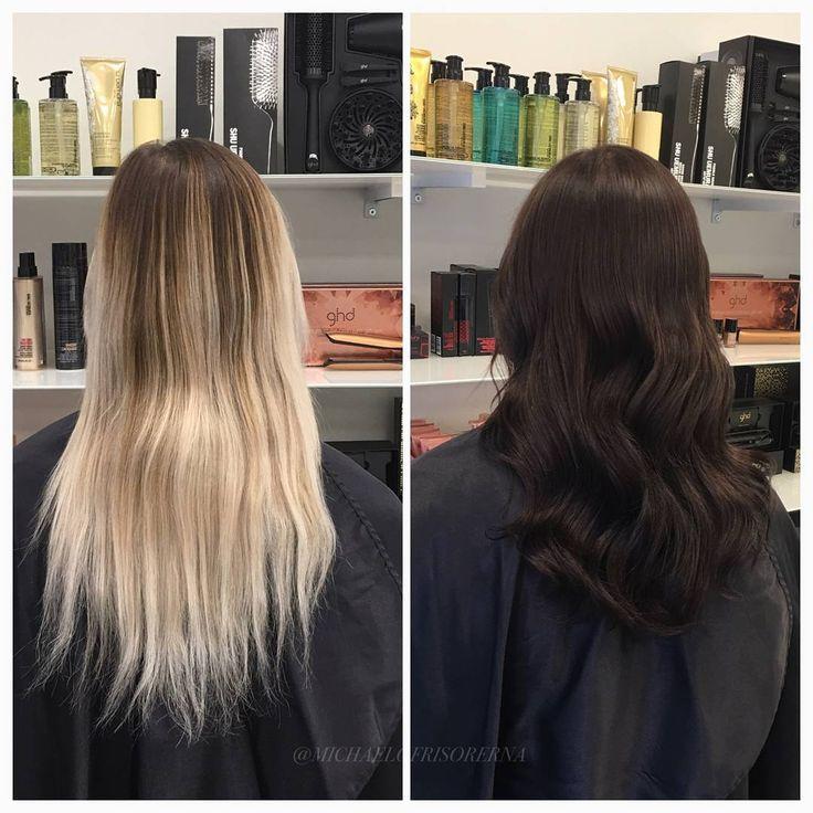 Från ett nästan vitblekt hår till en intensiv mörkbrun färg som går i kalla toner ✨ #byebyeblonde #richhaircolor #healthyhair #kerastase #fusiodose