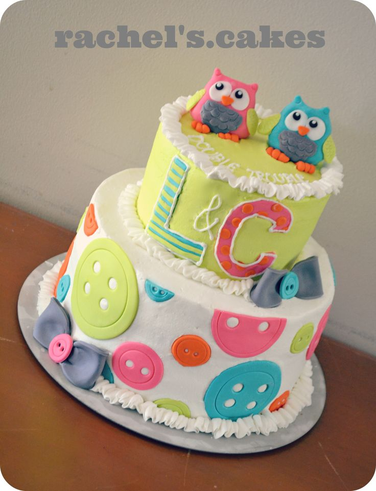 Owl theme baby shower cake for twins boyandgirltwins - Baby shower ideas economicas ...
