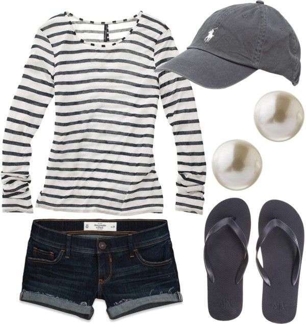 Laid back: Casual Outfit, Summer Day, Spring Summ, Comfy Casual, Flip Flops, Pearls Earrings, Casual Summer Outfit, Baseball Games, Longer Shorts