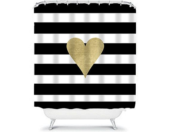 Black and white striped shower curtain with a love heart in gold.  The quality of our shower curtains are truly exceptional. They can be washed easily
