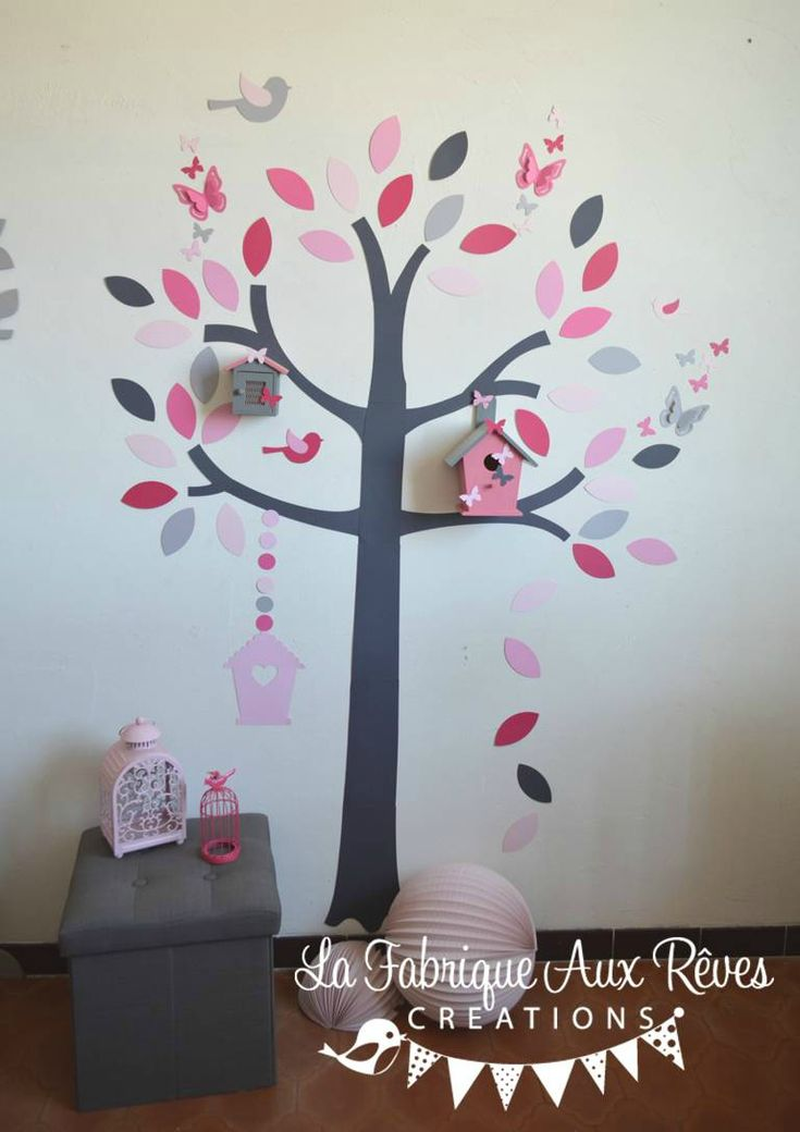 25 best ideas about stickers arbre chambre b b sur for Deco chambre bebe fille gris rose
