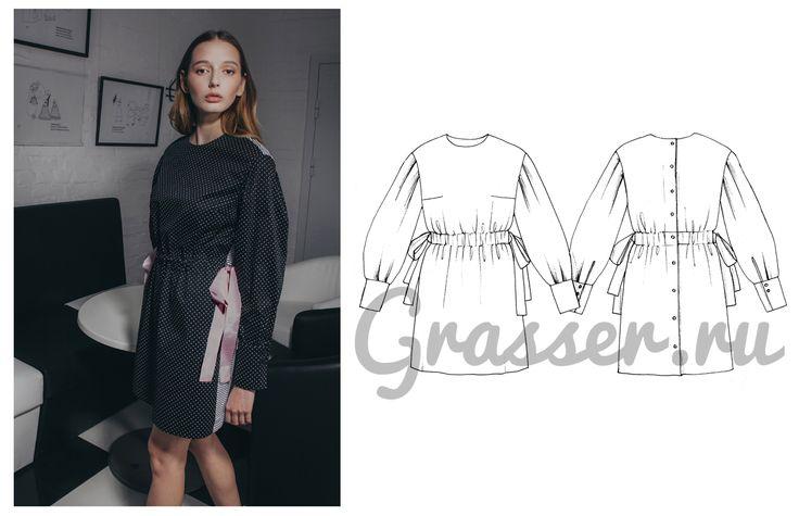 Выкройка платья - №485, магазин выкроек grasser.ru #sewing_pattern #pattern #выкройка #выкройки