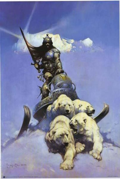 "An awesome poster of incredible fantasy art by the legendary Frank Frazetta called ""Silver Warrior""! Fully licensed - 2015. Ships fast. 24x36 inches. Check out the rest of our excellent selection of F"