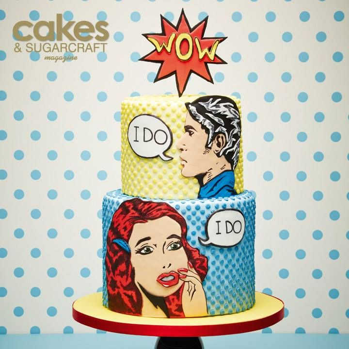 Pop Art Wedding Cake by Laura Dodimead featured in Issue 128 of Cakes & Sugarcraft magazine