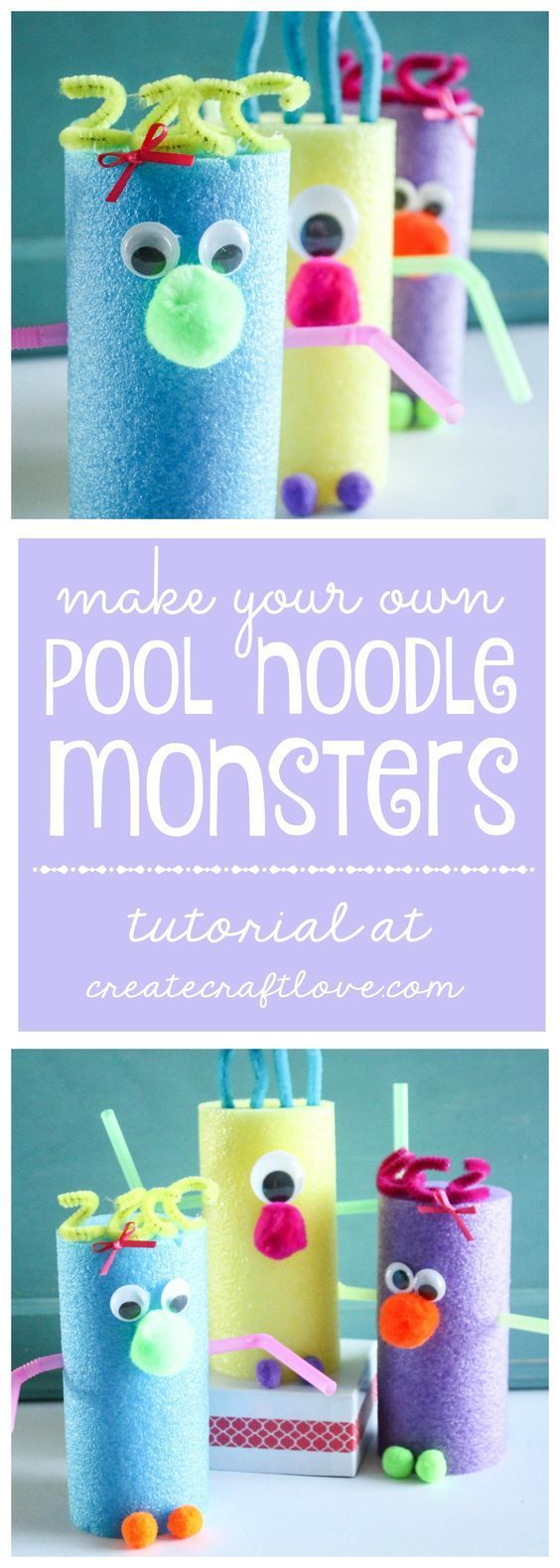 These Pool Noodle Monsters are a great kids craft for a summer day! via createcraftlove.com