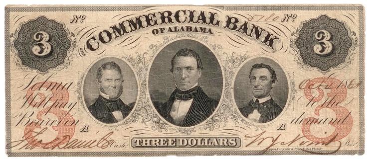Obsolete bank note, 1861, Commercial Bank of Alabama, Selma, Alabama