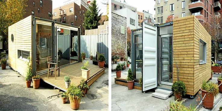 BYGGEKLOSS: Det lille MEKA-huset midt i New Yorks West Village er satt sammen av to gamle shippingcontainere.