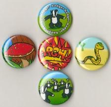 BADGER BADGER BADGER MUSHROOM -ARGH! -SNAKE! Badges five Button Pins set 25mm