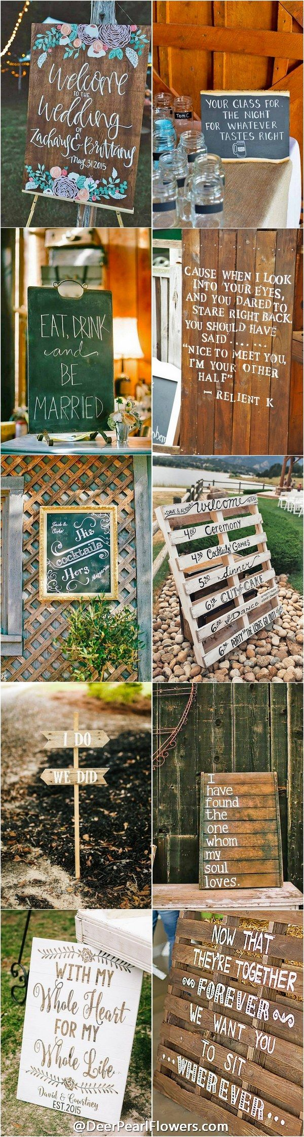 Rustic country wedding signs / http://www.deerpearlflowers.com/30-rustic-wedding-signs-ideas-for-weddings/