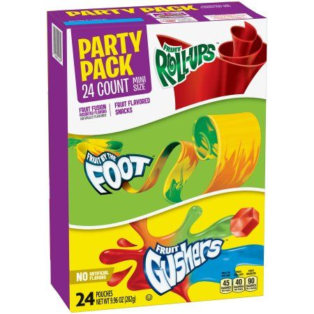 Betty Crocker Party Pack Variety Pack of Mini Size Fruit Roll-Ups Fruit By The Foot and Gushers 24 Individual Pouches (Total Net Weight 9.96 oz s)