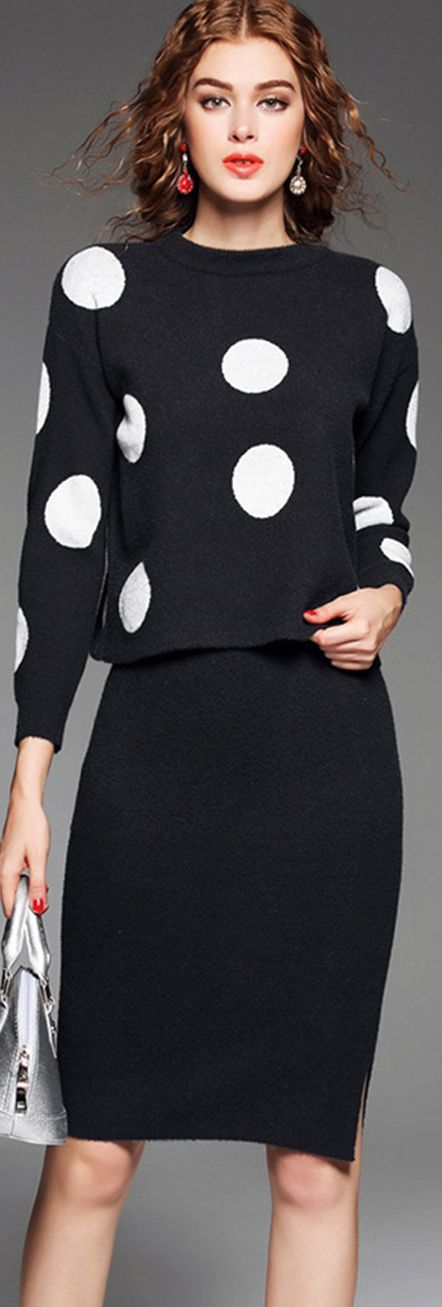 Grey Polka Dot Top With Knee Length Skirt