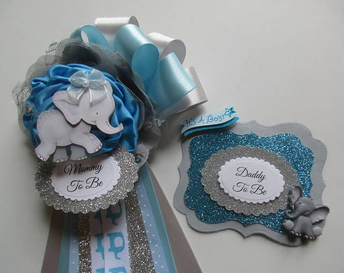 Elephant Mommy To Be Corsage Baby Boy Baby Shower Corsage Etsy