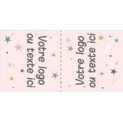 200 étiquettes à coudre personnalisées à plier en deux étoiles roses 5x3cm ou 6x2cm ou 5x2cm