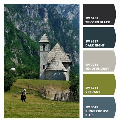 Thethi Albania! Love the color palette - it will match perfectly with my mountain green granite. Paint colors from Chip It! by Sherwin-Williams