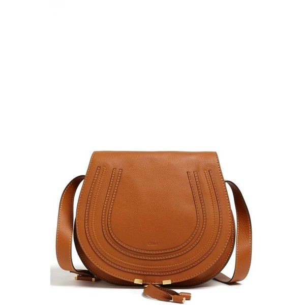 Chloe 'Marcie - Medium' Leather Crossbody Bag ($1,395) ❤ liked on Polyvore featuring bags, handbags, shoulder bags, tan, brown leather shoulder bag, leather handbags, brown leather crossbody, leather shoulder bag and brown leather handbags
