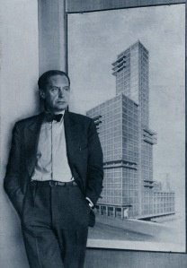 Walter Gropius standing next to a building that would never get built.