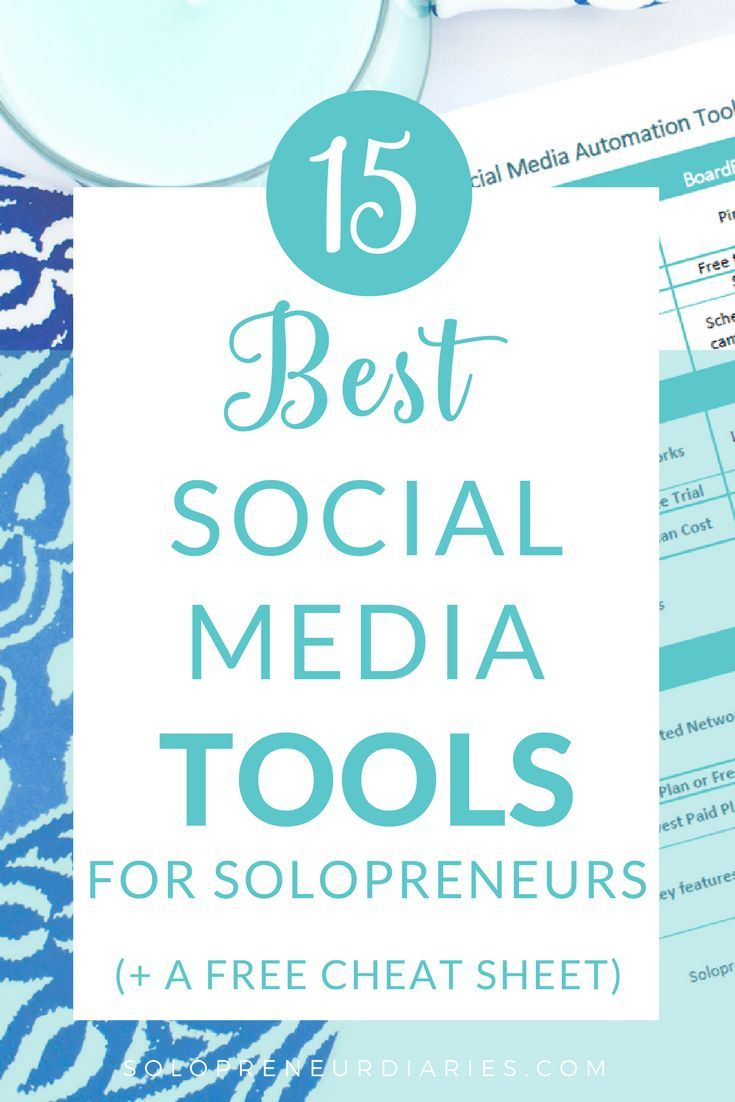 Looking for the best social media marketing tools for entrepreneurs and small business owners? Click through for the 15 best tools, plus a free printable cheat sheet!   Social Media Marketing Tips   Apps   #socialmediamarketingtips